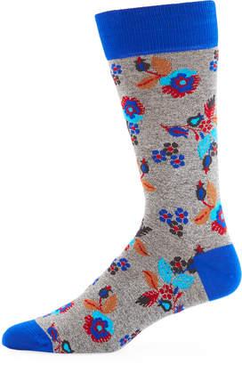 Bugatchi Men's Floral-Jacquard Socks