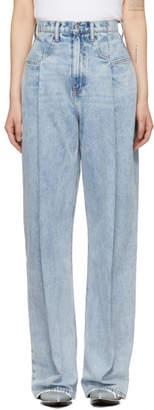 Alexander Wang Blue Brace Pleated Jeans