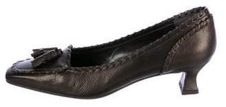 Stuart Weitzman Leather Tassel Loafer Pumps