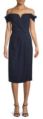 Off-The-Shoulder Wrap Sheath Dress