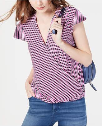 INC International Concepts I.n.c. Striped Cap-Sleeve Wrap Shirt