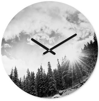 Deny Designs Bird Wanna Whistle White Mountain Round Clock