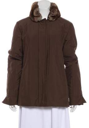 Loro Piana Chinchilla-Trimmed Long Sleeve Jacket