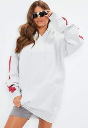 Missguided Tall Gray Stripe Hoody Sweatshirt Dress