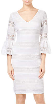 Adrianna Papell Ava Lace Bell Sleeve Dress, Ivory/Powder