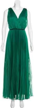 Halston Pleat Maxi Dress