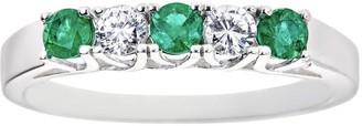 Emerald and Diamond Alternating Five-Stone BandRing, 14K