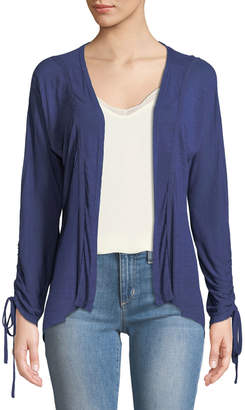 Neiman Marcus Ruched-Sleeve High-Low Cardigan