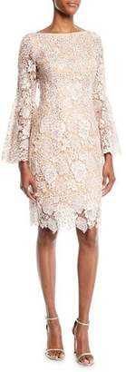 Jovani Scalloped Lace Cocktail Dress w/ Trumpet Sleeves