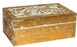 Mela Artisans Clematis Jewelry Box in Gold over White