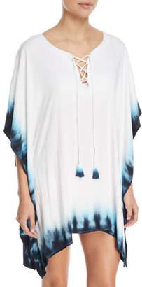 LaBlanca La Blanca St.Tropez Lace-Front Tie-Dye Coverup Tunic