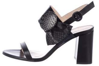Frances Valentine Snakeskin-Trimmed Leather Sandals Black Frances Valentine Snakeskin-Trimmed Leather Sandals