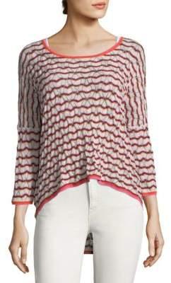 Autumn Cashmere Striped Hi-Lo Cotton Sweater