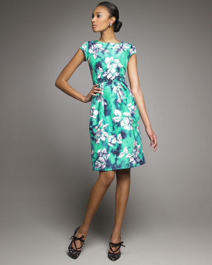 Oscar de la Renta Floral-Embroidered Dress