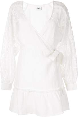 SUBOO lace sleeve wrap dress