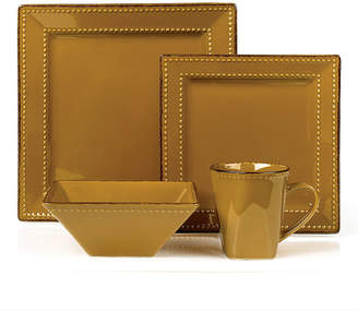 Lorren Home Trends 16 Piece Square Beaded Stoneware Dinnerware set