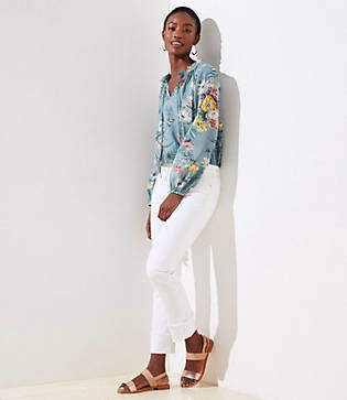 LOFT Modern Cuffed Straight Leg Jeans in White