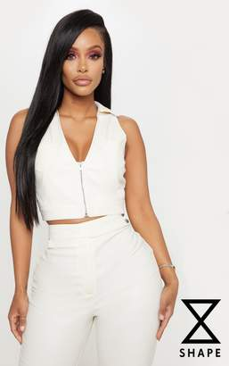 PrettyLittleThing Shape Cream Faux Leather Pocket Detail Collar Crop Top