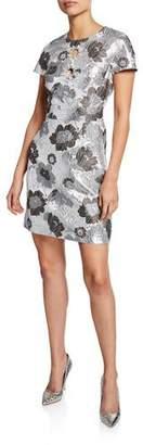 Michael Kors Short-Sleeve Summer Floral Metallic Brocade Dress
