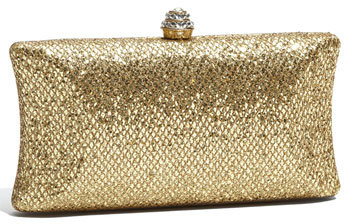 Tasha 'Glitter' Embossed Metal Clutch