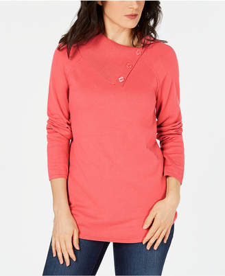 Karen Scott Cotton Button-Neck Sweater