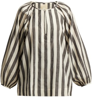Anaak - Striped Keyhole Yoke Cotton Blouse - Womens - Grey White