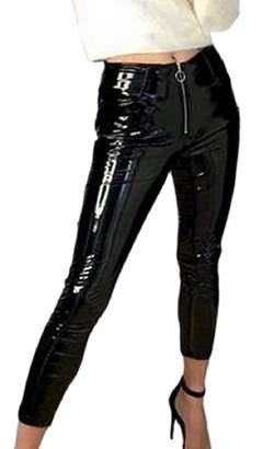 14ba25895fc Smeiling-CA Women s Sexy Faux Leather Wet Look Shiny Metallic Legging Pants  M