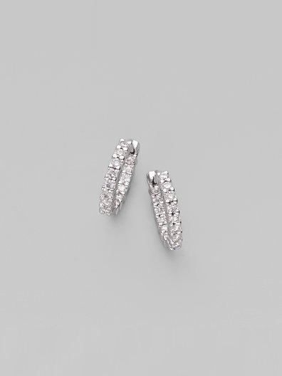 Roberto Coin Diamond & 18K White Gold Hoop Earrings/½