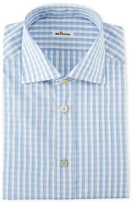 Kiton Men's Gingham Check Dress Shirt