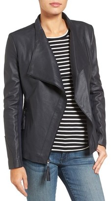 Women's Via Spiga Asymmetrical Leather Jacket $448 thestylecure.com