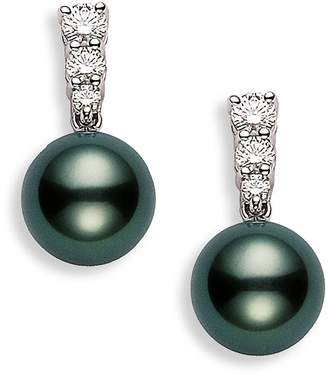 Mikimoto 'Morning Dew' Black South Sea Cultured Pearl & Diamond Earrings
