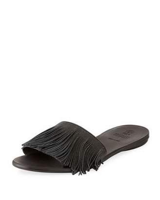 Brunello Cucinelli Monili Fringe Slide Sandal