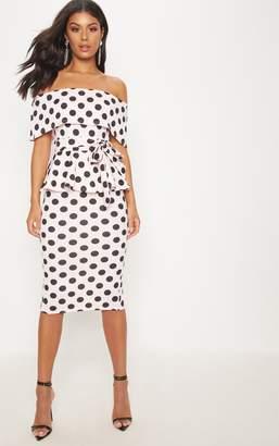 PrettyLittleThing White Bardot Peplum Midi Dress
