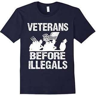 Veterans Before Illegals - Military American Flag t-shirt