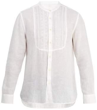 120% Lino - Grandad Collar Embroidered Bib Linen Shirt - Mens - White