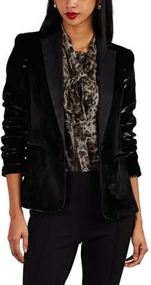 Frame Women's Satin-Trimmed Velvet One-Button Blazer