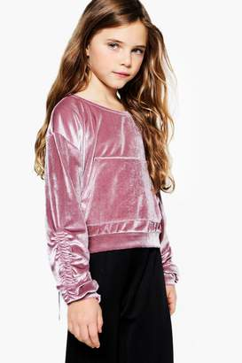 boohoo Girls Velour Rouched Velvet Crop Sweat Top