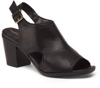 Made In Italy Stacked Heel Leather Sandals
