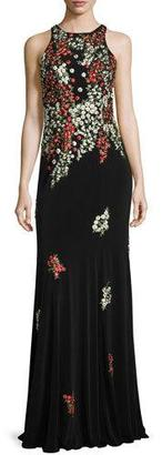 Jovani Sleeveless Embroidered Column Gown, Black/Multicolor $650 thestylecure.com