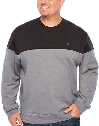 Izod Advantage Colorblock Chest Crew Long Sleeve Sweatshirt Big and Tall