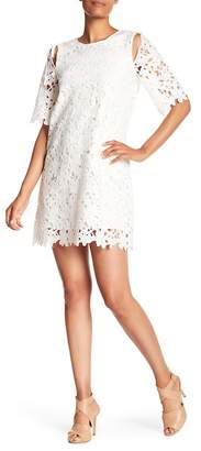Laundry by Shelli Segal Cutout Floral Lace Shift Dress
