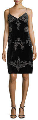 Romeo & Juliet Couture Beaded & Embroidered Velvet Slip Dress