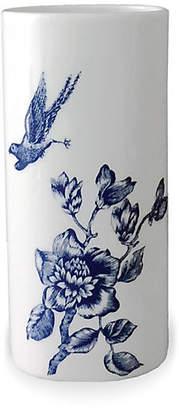 """Caskata 7"""" Chinoiserie Bud Vase - White/Blue"""