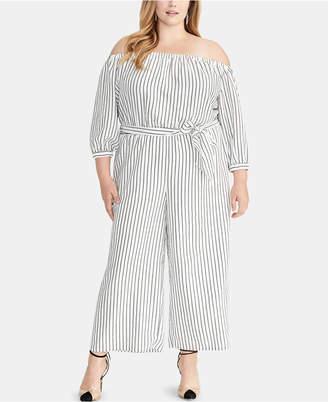 73e1a37d46c Rachel Roy Plus Size Striped Off-The-Shoulder Jumpsuit