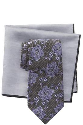 Ted Baker Oversize Dotted Floral Silk Tie & Pocket Square Set