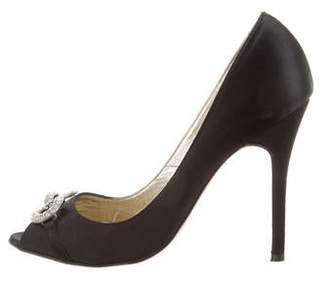Luciano Padovan Satin Peep-Toe Pumps