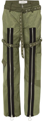 Marques Almeida Marques' Almeida - Zip-detailed Shell And Poplin Pants - Army green