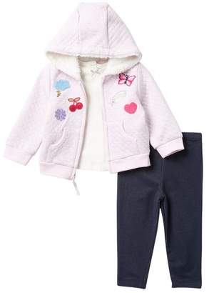 Little Me Patch Hoodie, Top, & Legging Set (Baby Girls)