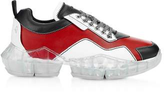 Jimmy Choo Red & Black Soft Leather DIAMOND/M Low Top Trainers