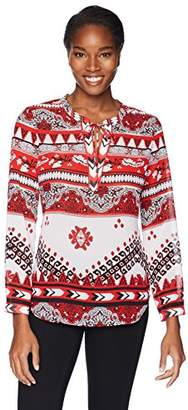 Tribal Women's Long Sleeve Blouse with Back Gather Detail
